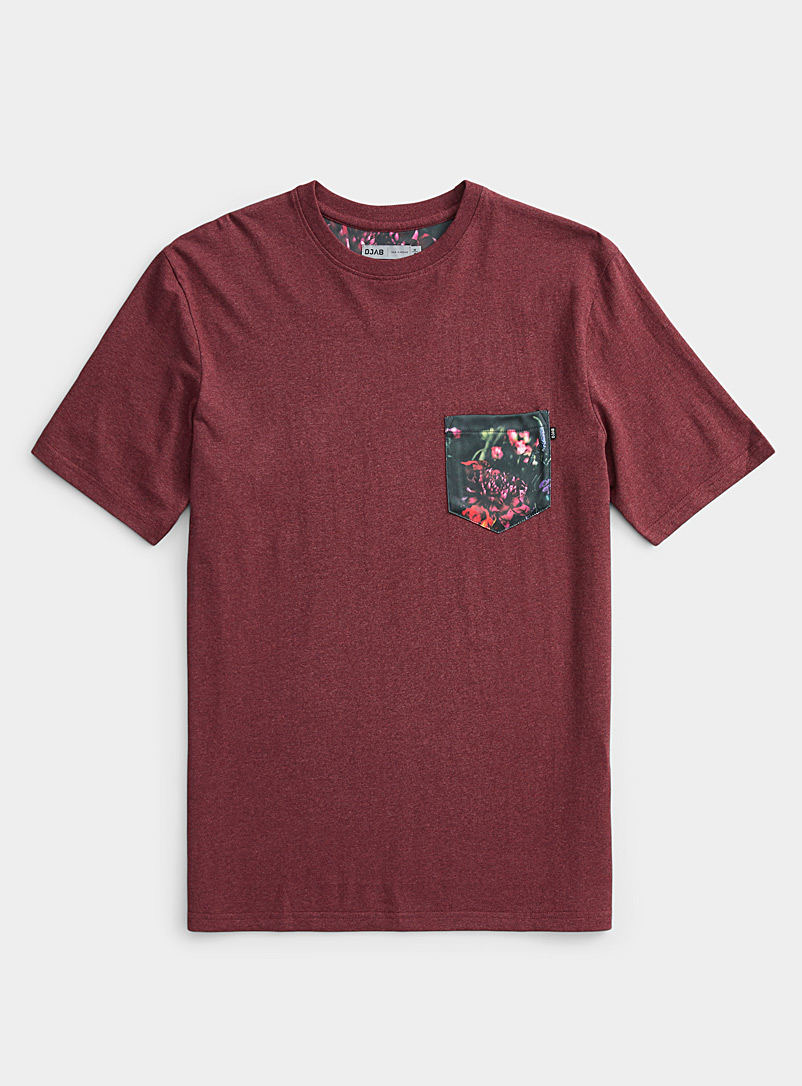 Djab Cherry Red Organic cotton figurative pocket T-shirt for men