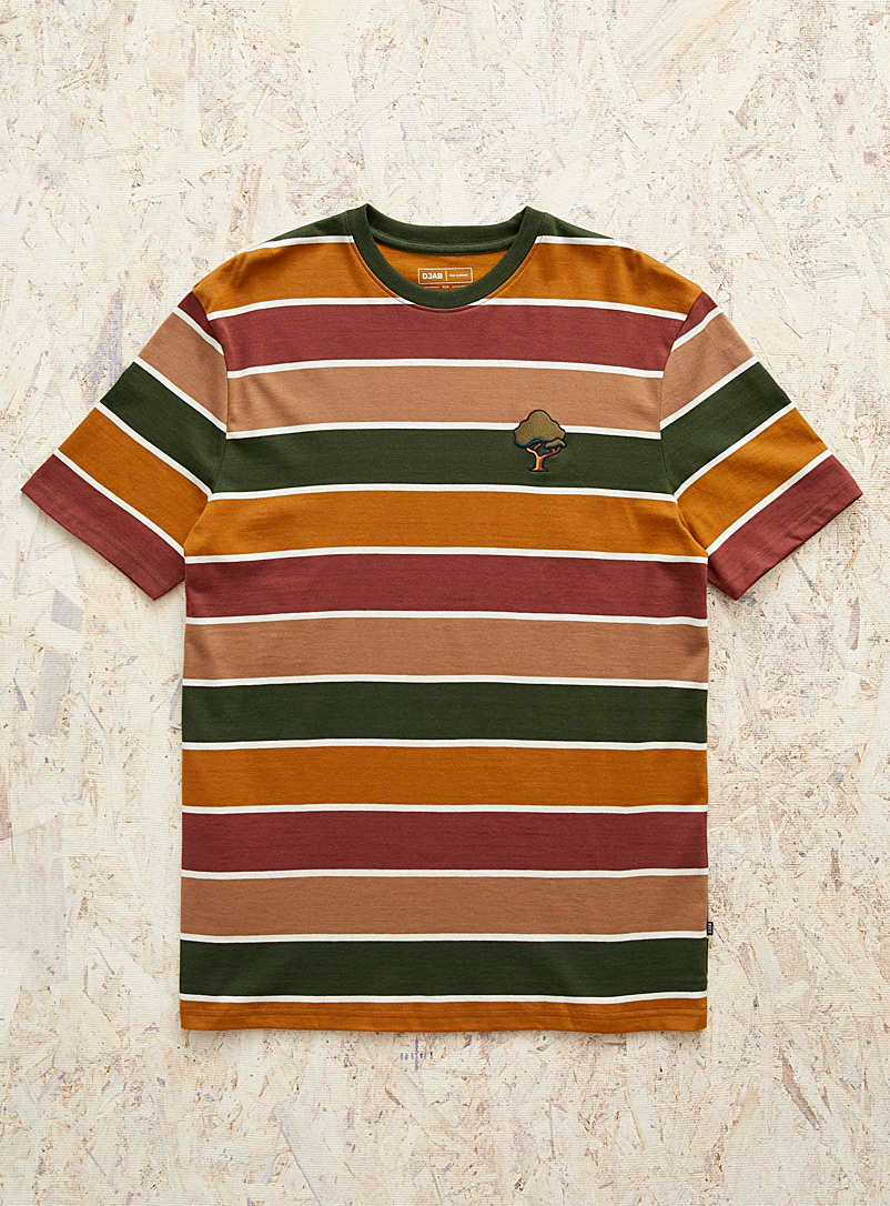 Djab Fawn Organic cotton embroidered striped T-shirt for men
