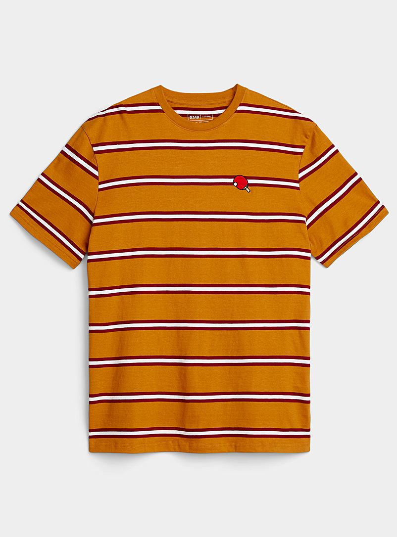 Djab Golden Yellow Organic cotton embroidered striped T-shirt for men