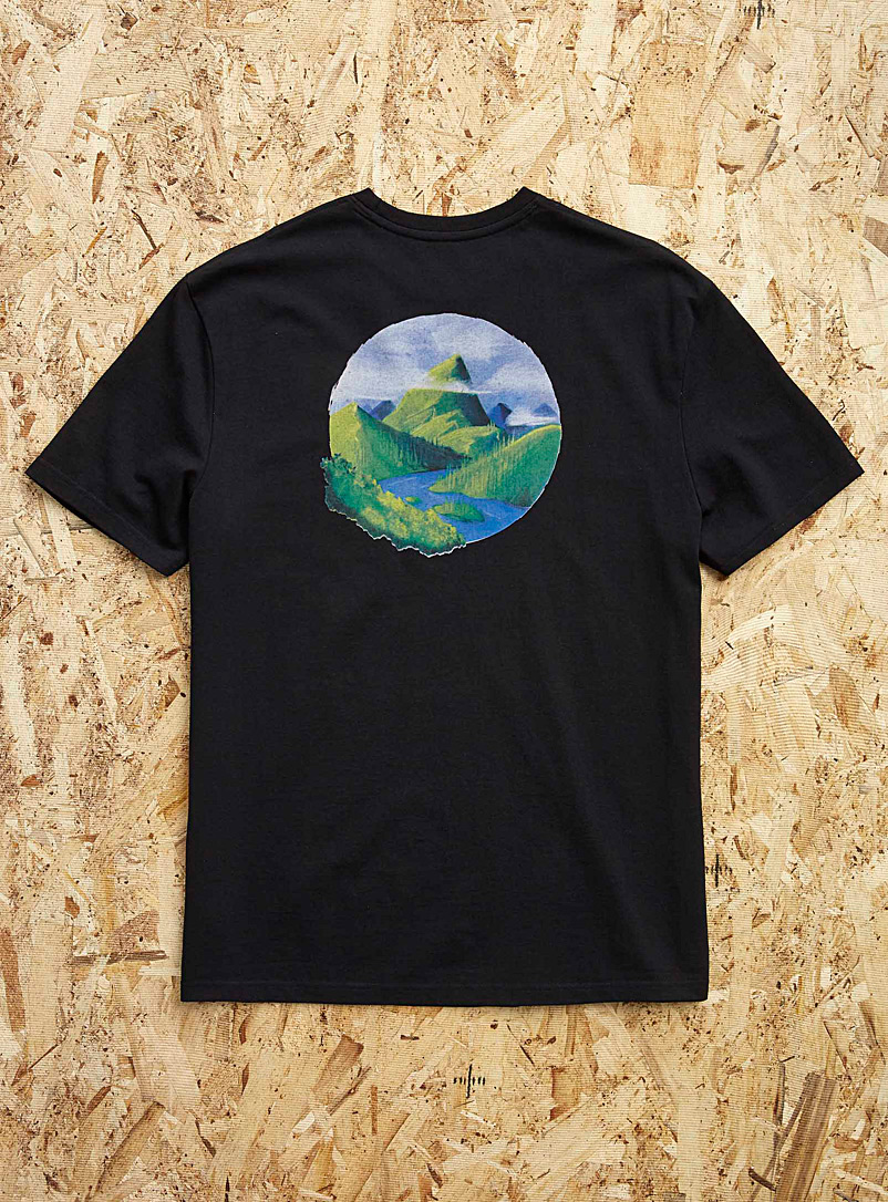 Djab Black Graphic art recycled cotton T-shirt for men