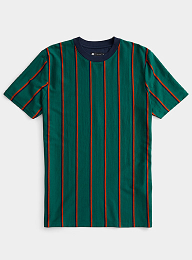Le 31 Green Vertical-stripe T-shirt for men