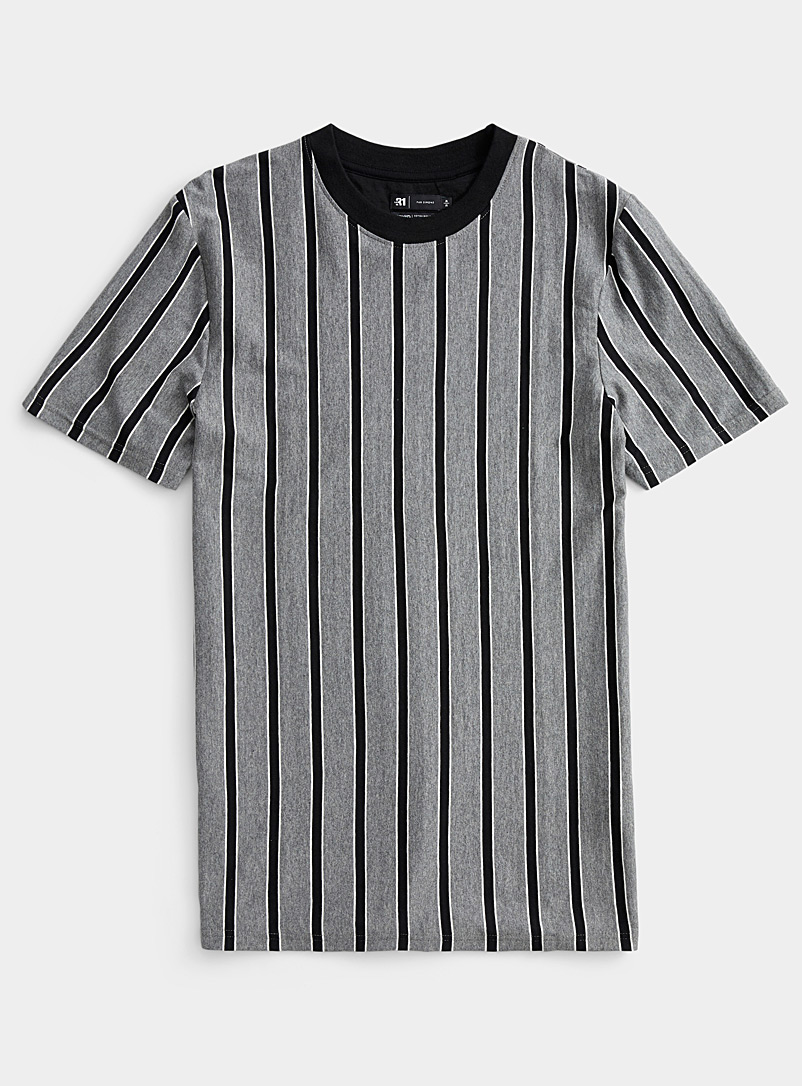 Le 31 Grey Vertical-stripe T-shirt for men
