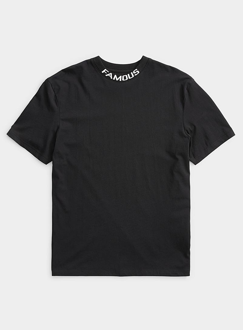 Djab Black Organic cotton typeset collar T-shirt for men
