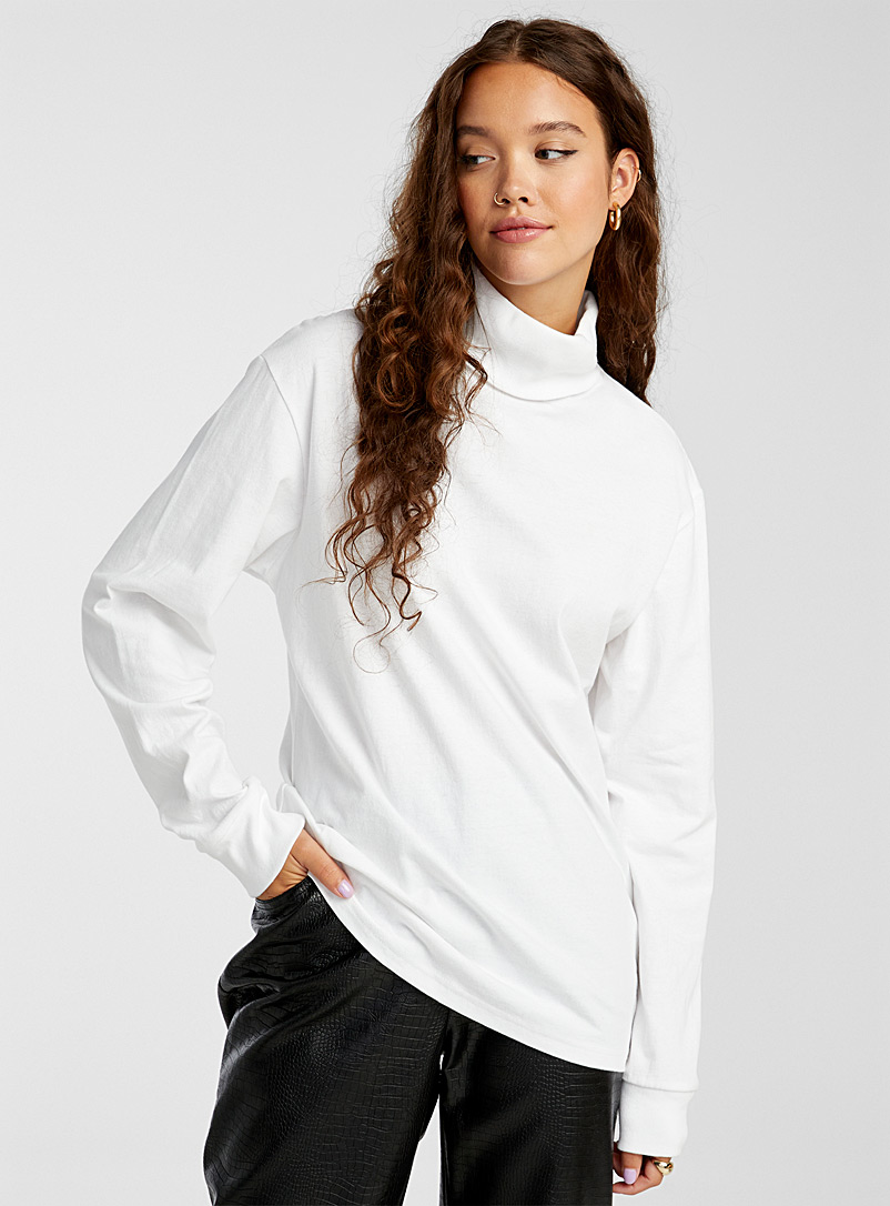Twik White Organic cotton loose turtleneck for women