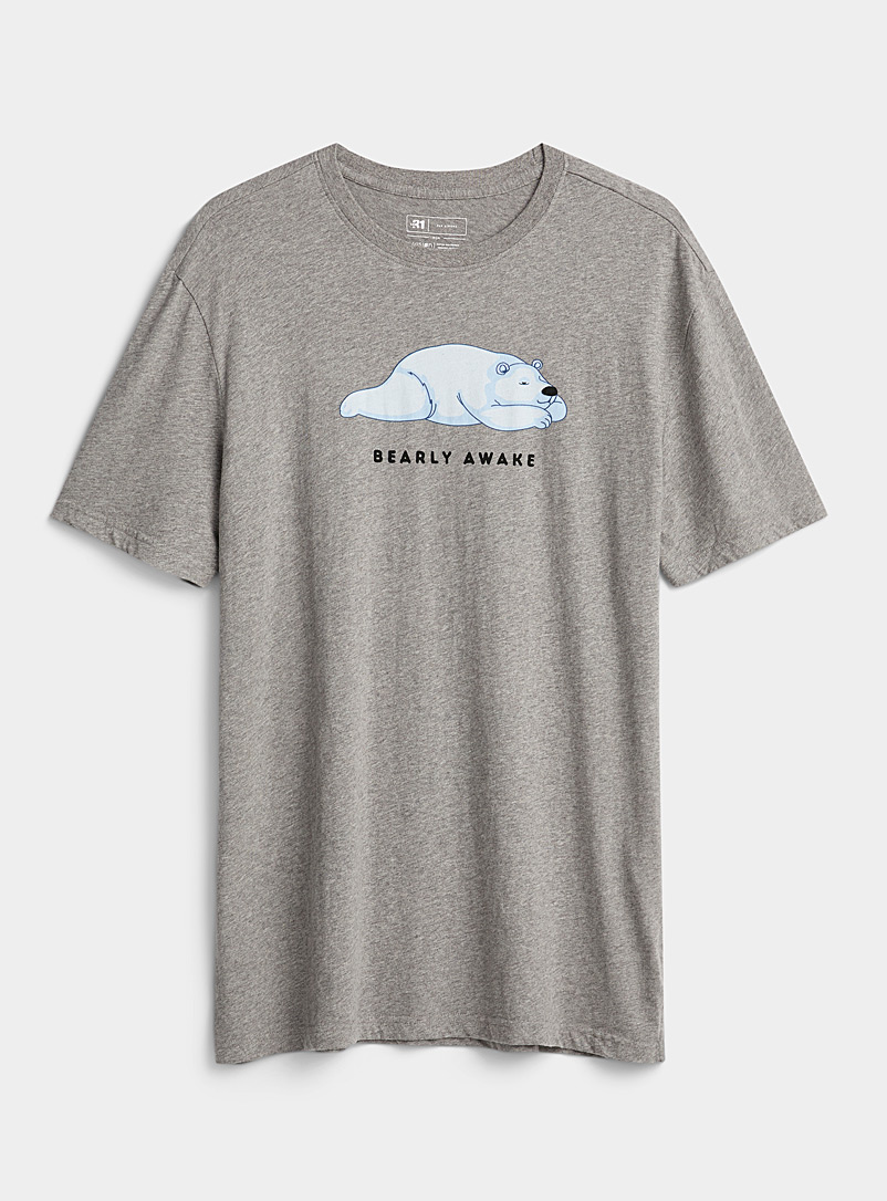 Le 31 Patterned Grey Winter vacation organic cotton lounge T-shirt for men