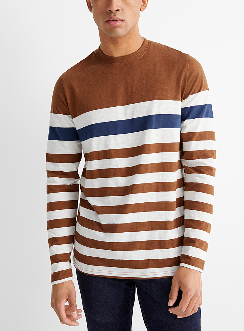 Le 31 Brown Organic cotton club stripe T-shirt for men