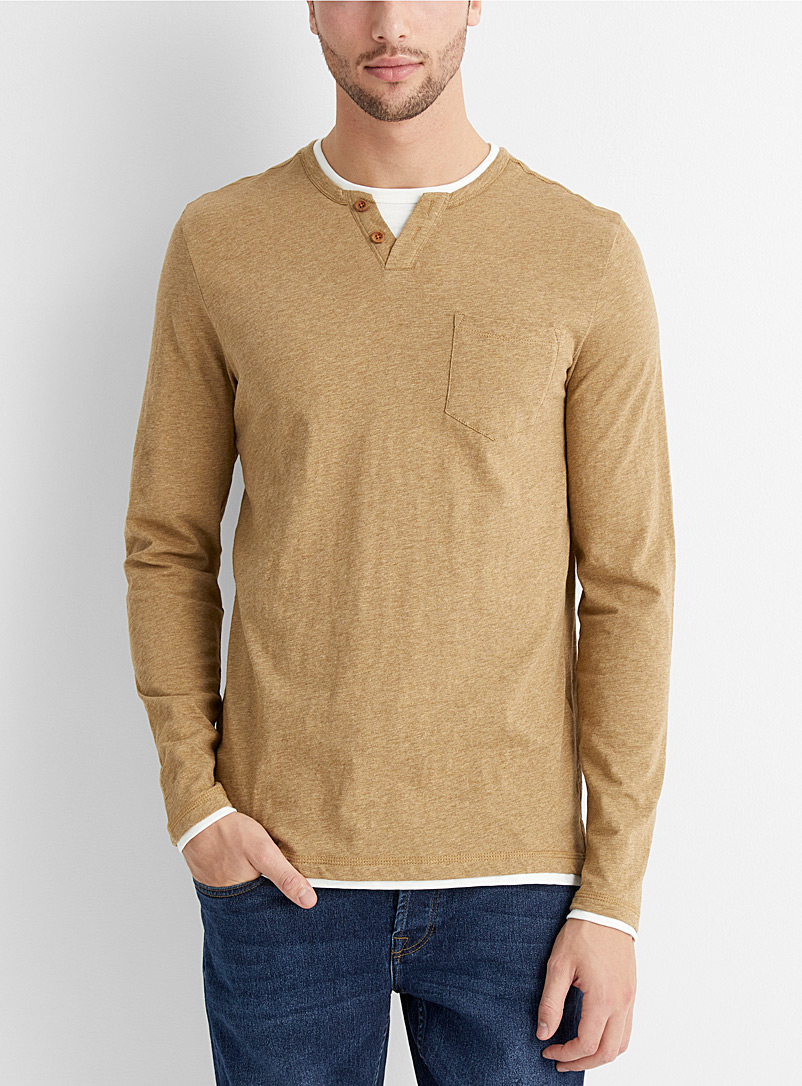 Le 31 Light Brown 2-in-1 look organic cotton T-shirt for men