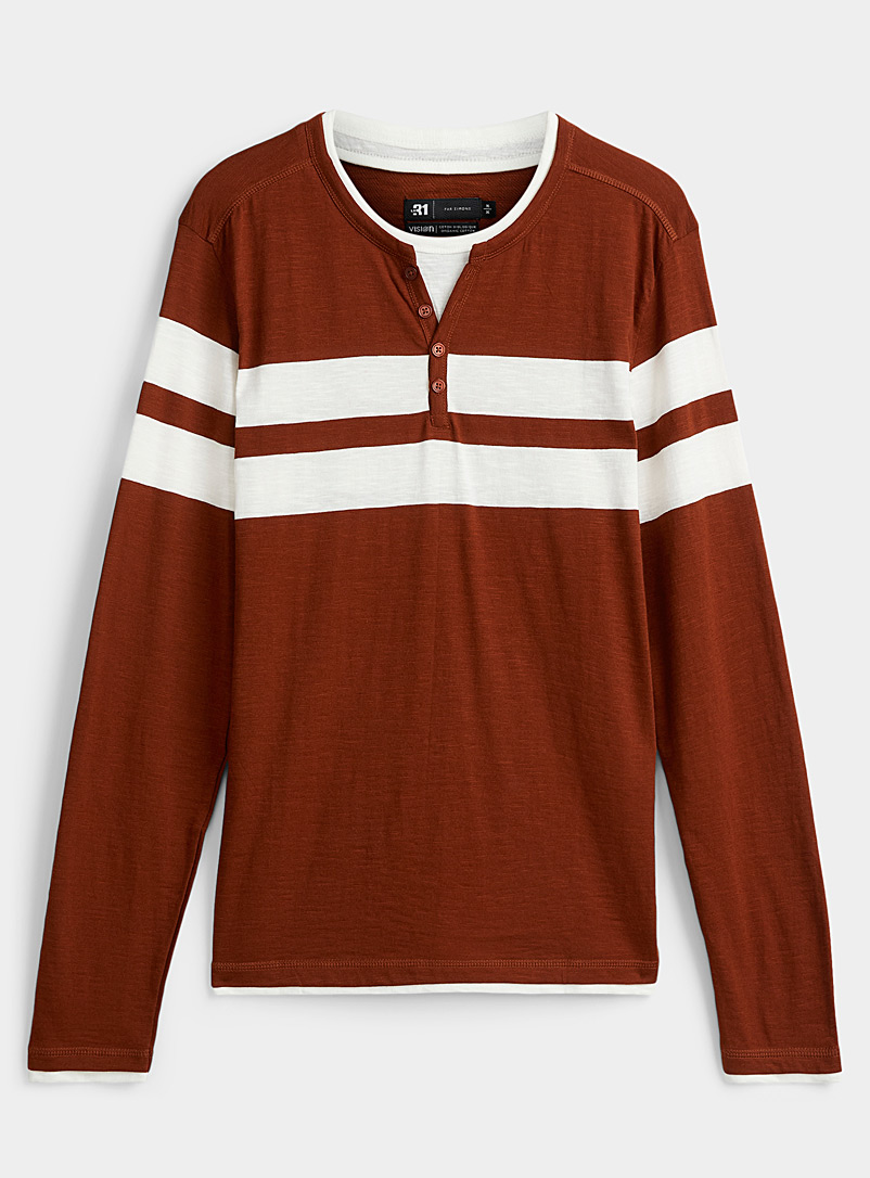 Le 31 Copper Contrast layered T-shirt for men