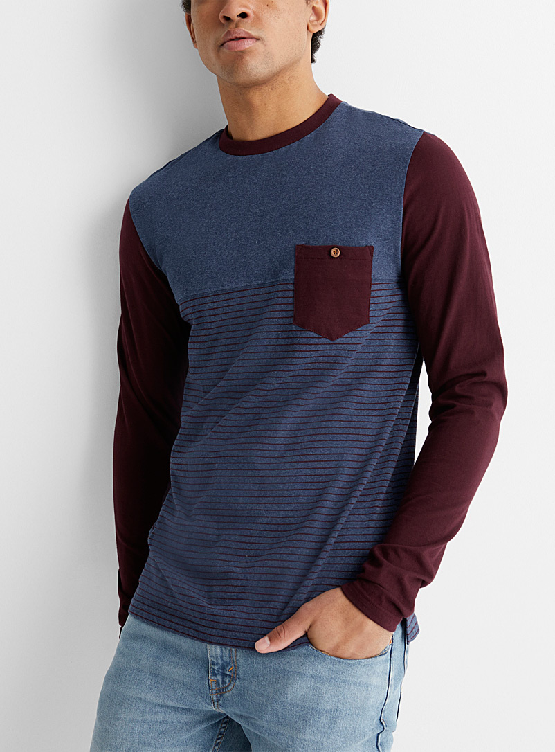 Le 31 Marine Blue Striped block T-shirt for men
