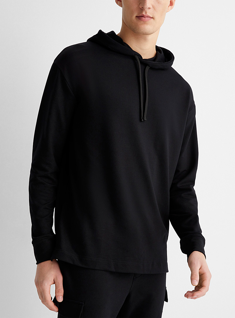 Le 31 Black Recycled polyester hooded lounge sweater for men