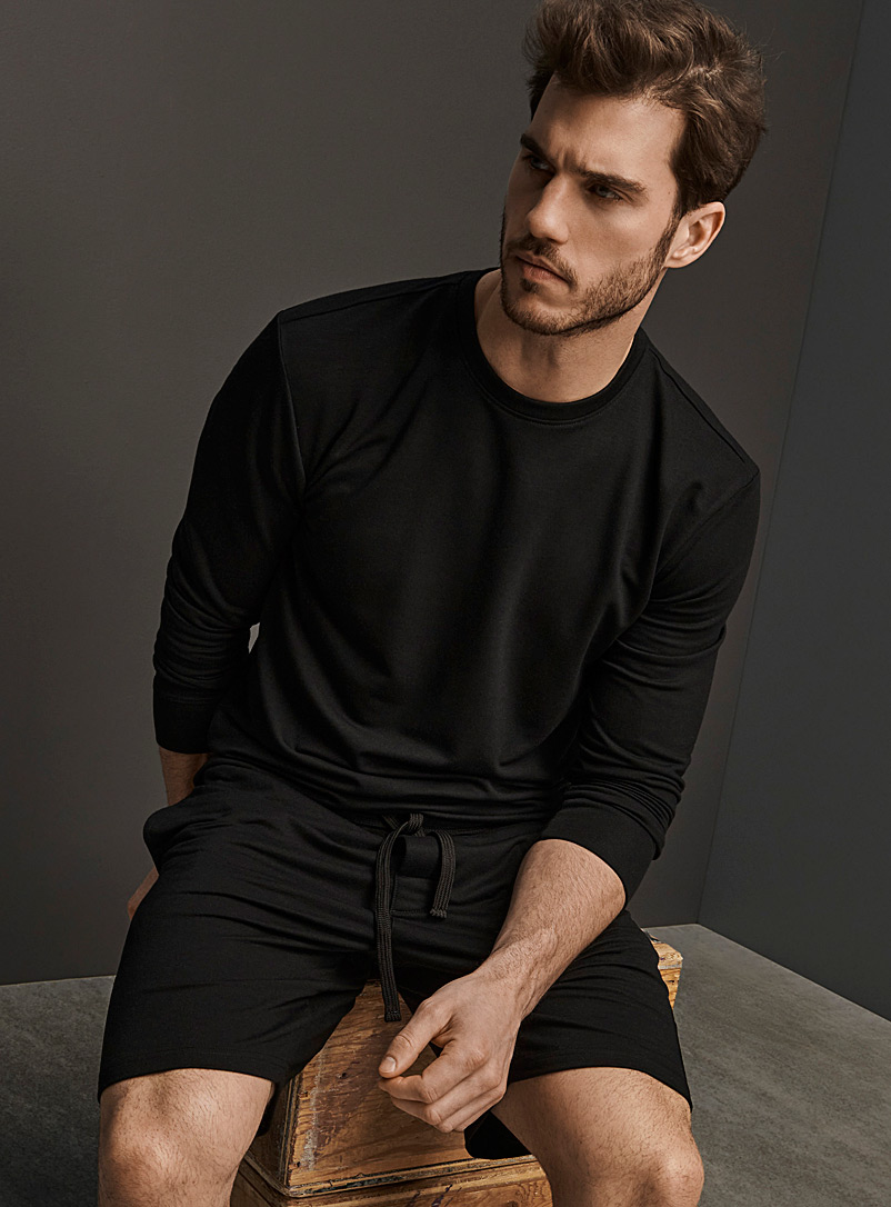 Le 31 Black Recycled polyester crew-neck lounge T-shirt for men