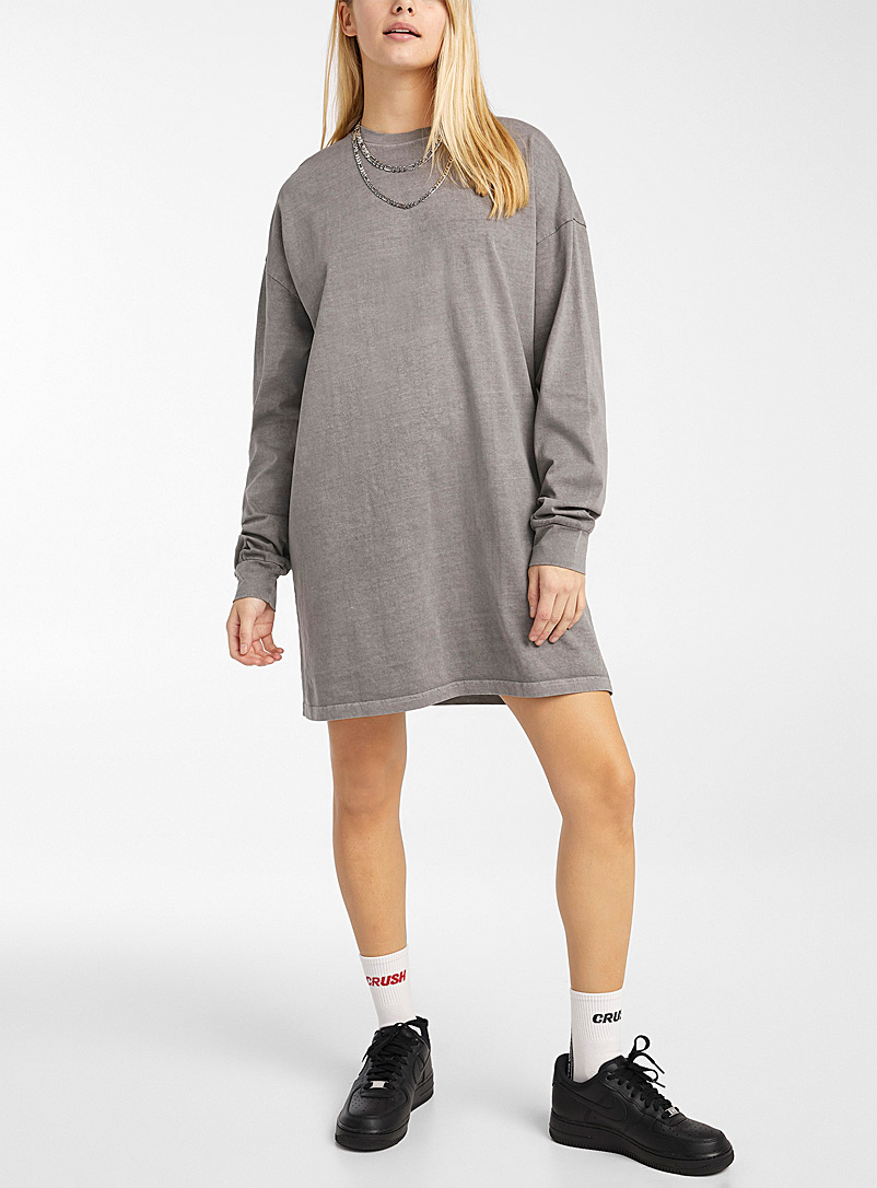 Twik Charcoal Loose recycled cotton dress for women