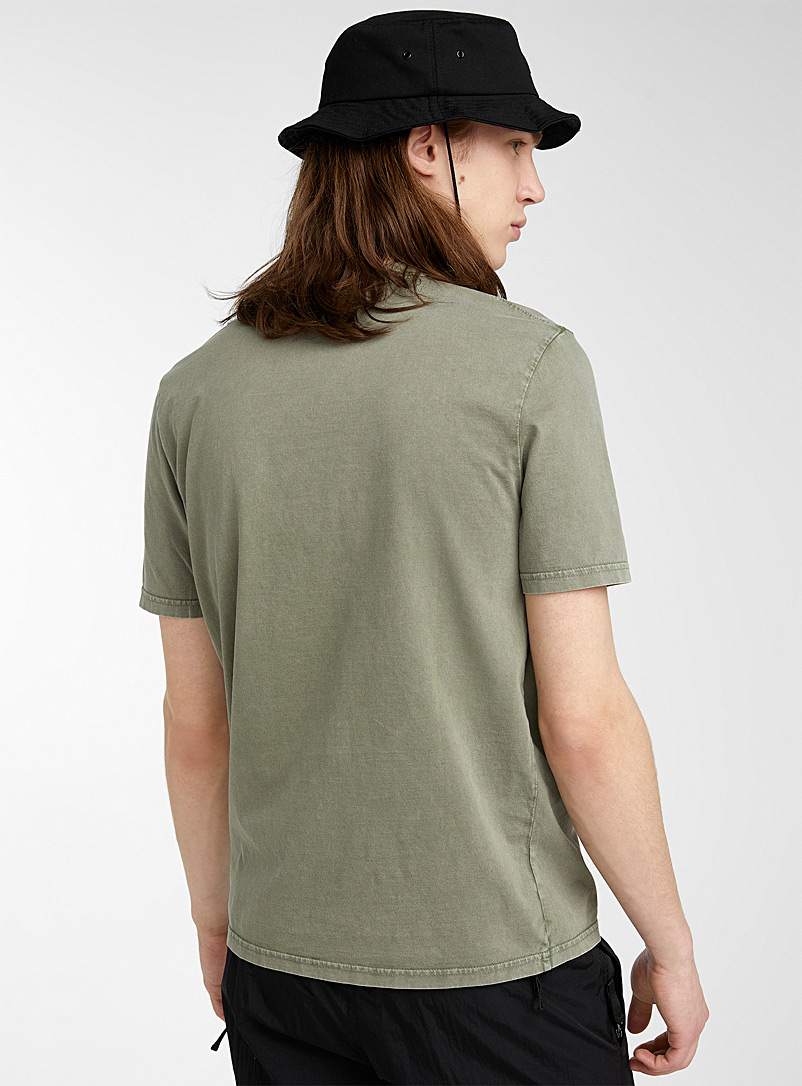 Djab Mossy Green Faded woozy smile T-shirt for men