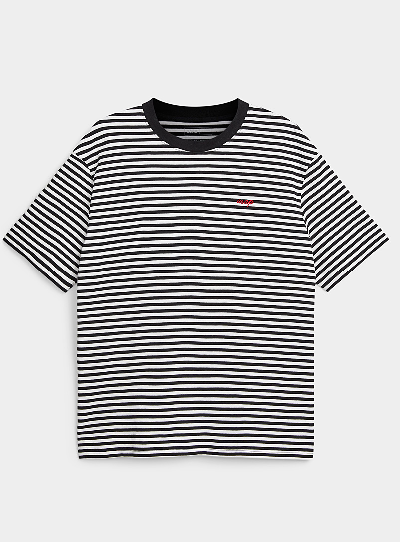Djab Black Idiomatic striped T-shirt for men