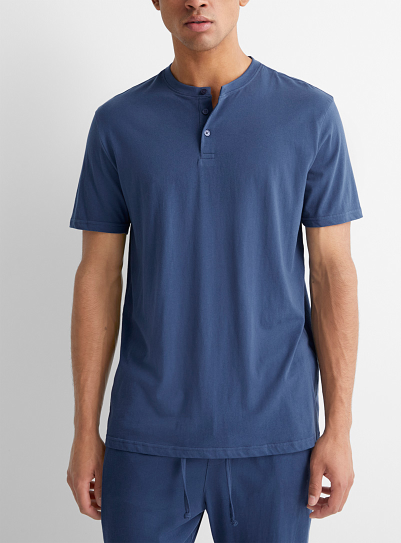 Le 31 Marine Blue Solid organic cotton Henley T-shirt for men