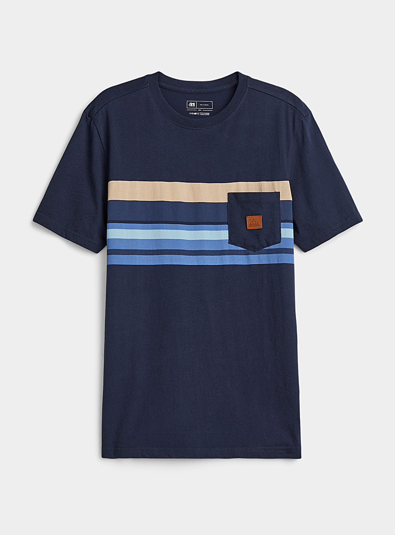 Le 31 Marine Blue Patch pocket Striped T-shirt for men