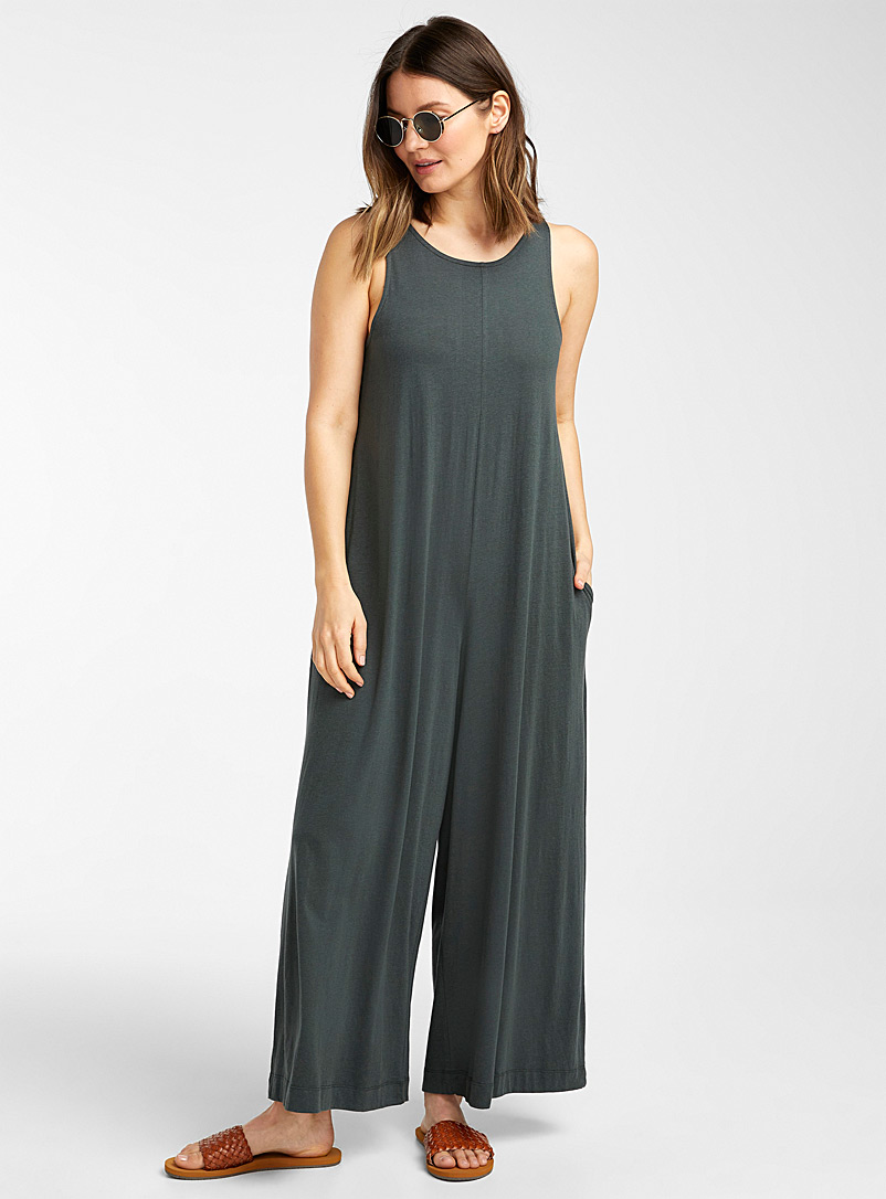 Simons Mossy Green Organic cotton wide-leg jumpsuit for women