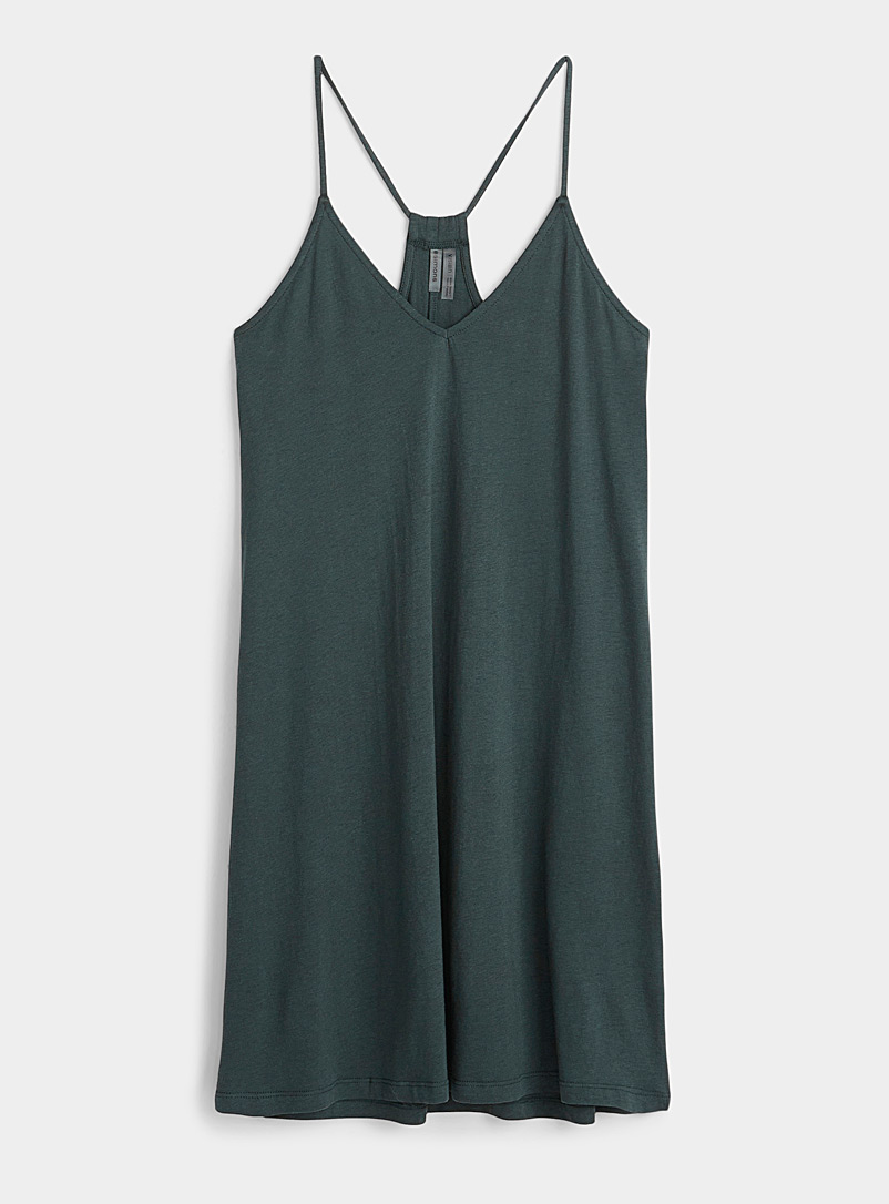 Simons Mossy Green Organic cotton spaghetti strap dress for women
