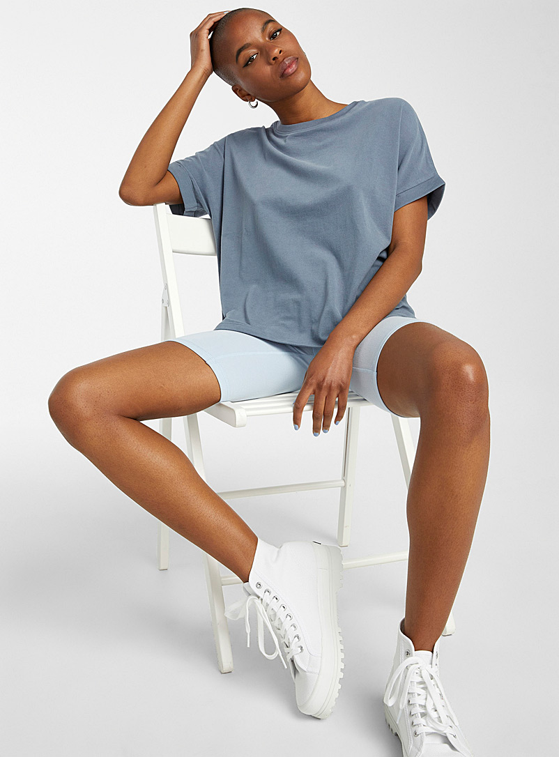 Twik Slate Blue Rolled sleeve loose tee for women