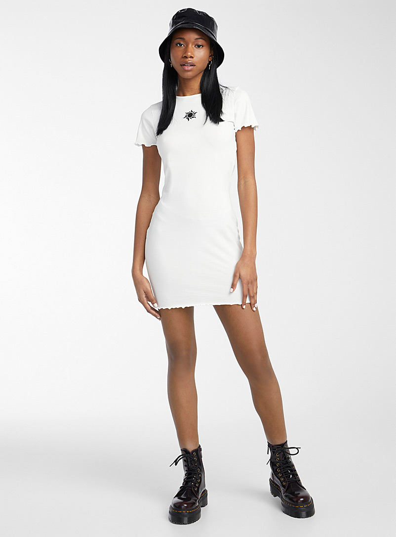 Twik Ivory White Ruffle and embroidery fitted dress for women