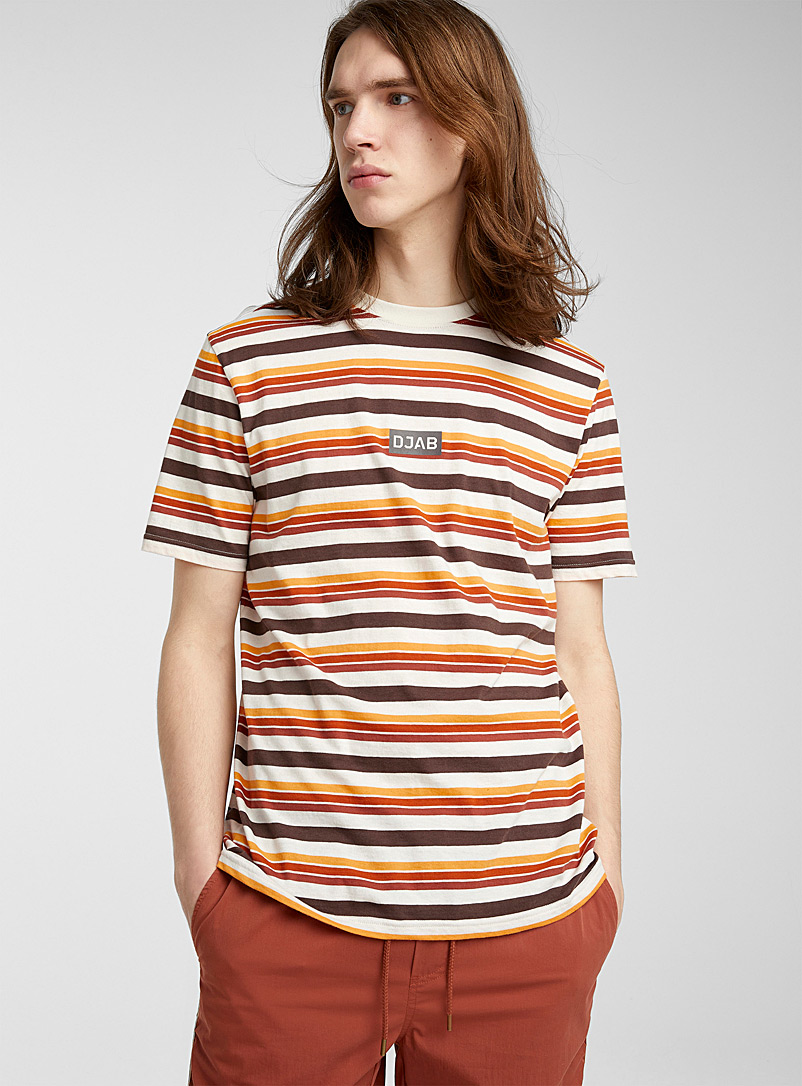 Djab Cream Beige Striped logo T-shirt for men
