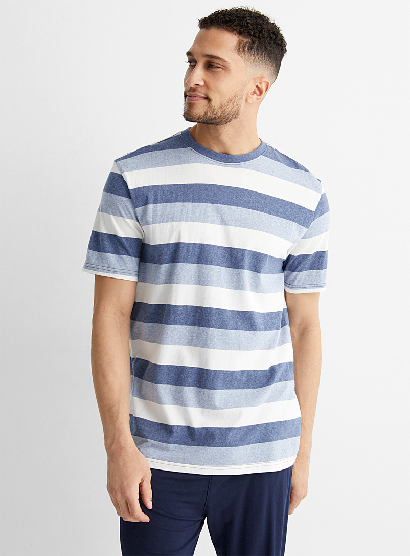 Le 31 Patterned White Wide stripe lounge T-shirt for men