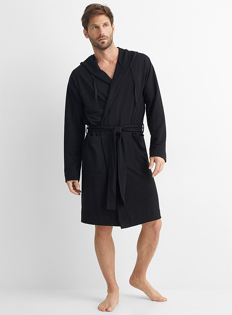 Le 31 Black Recycled polyester hooded robe for men