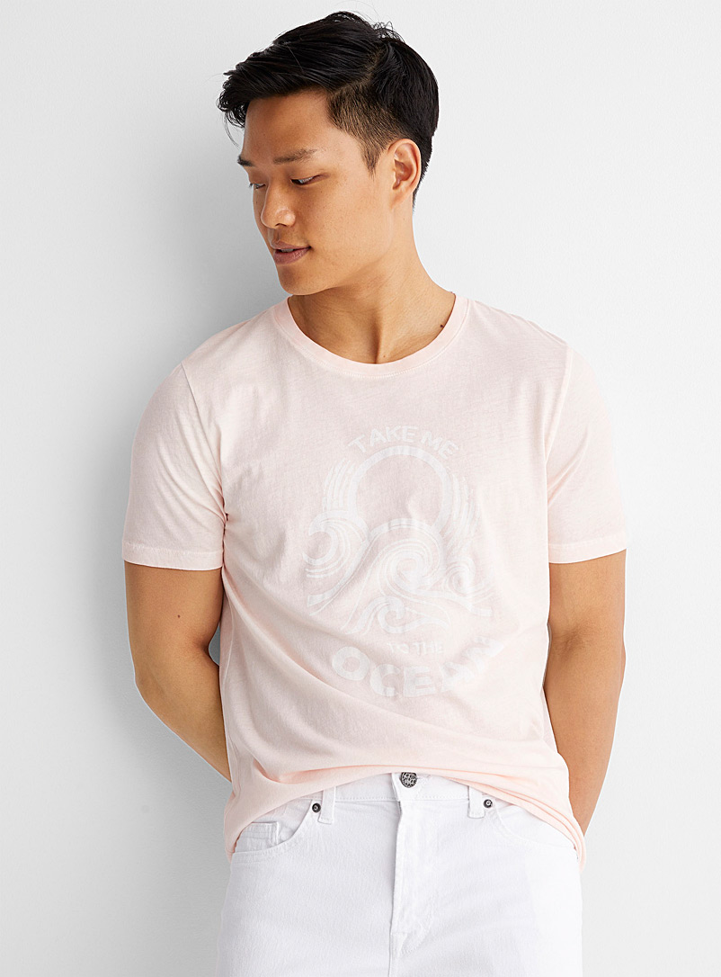 Le 31 Pink Summer paradise faded dye T-shirt for men