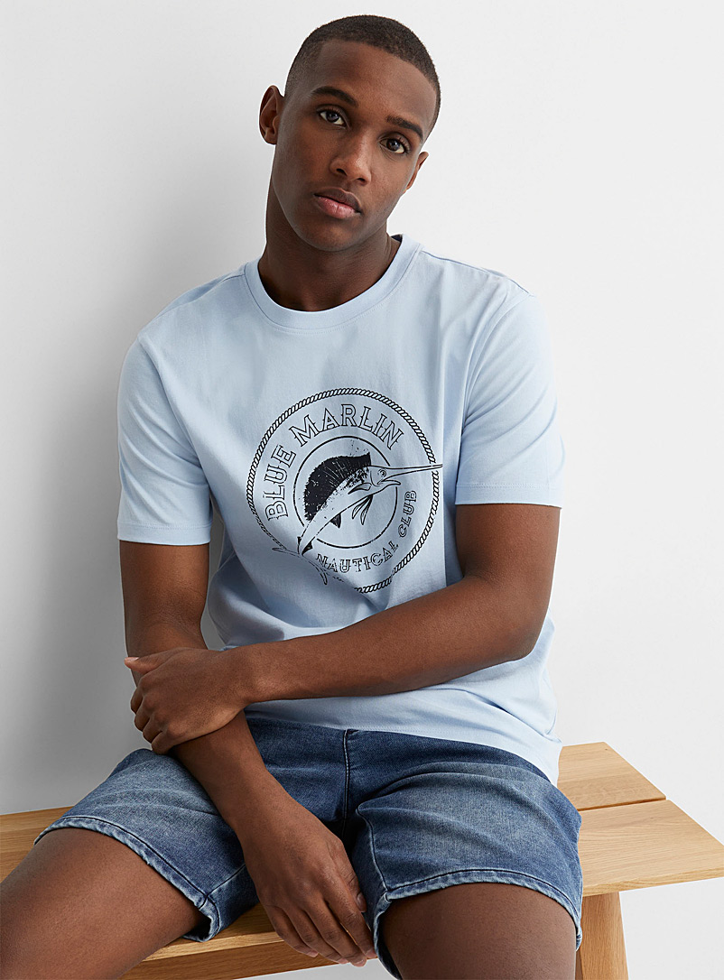 Le 31 Baby Blue Fishing passion T-shirt for men