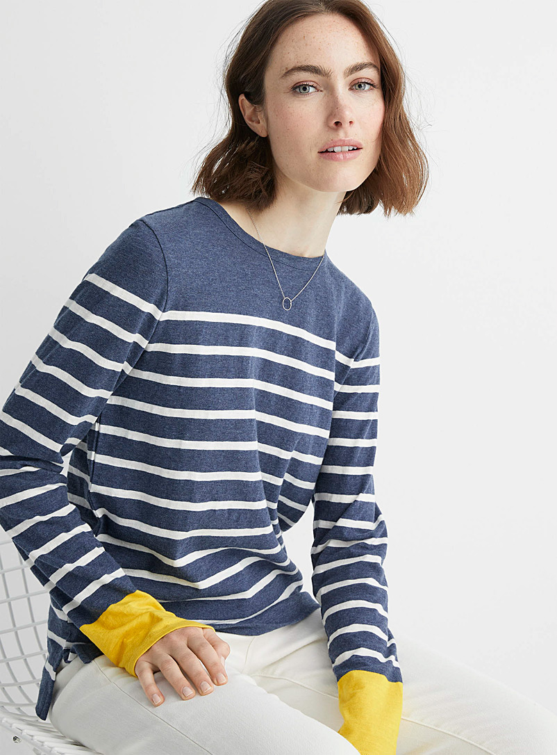 Contemporaine Patterned Blue Organic cotton accent-cuff sailor tee for women