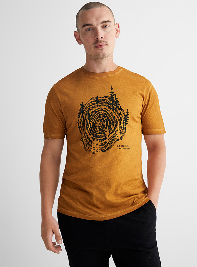Le 31 Golden Yellow Oil-washed organic cotton T-shirt for men