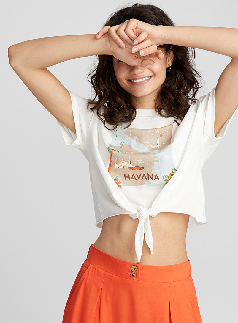 Cropped summer fragrance T-shirt - Organic Cotton - Ivory White