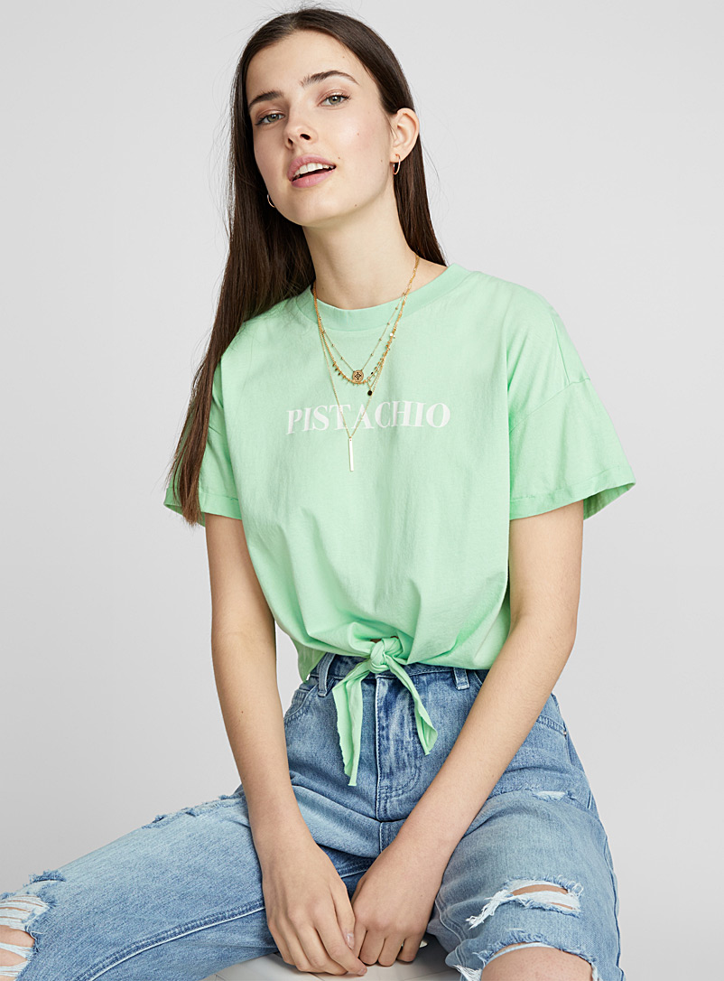 Cropped summer fragrance T-shirt - Organic Cotton - Patterned White