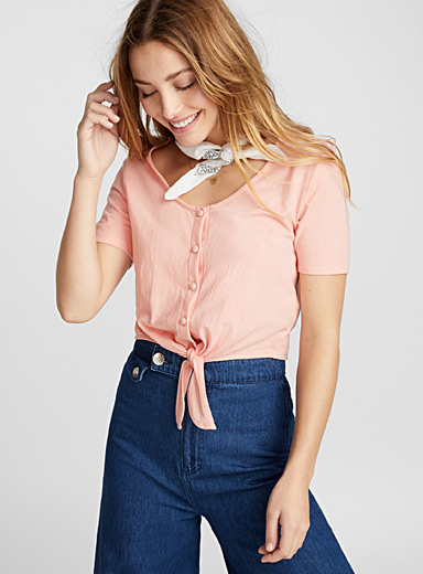 Knotted cropped tee