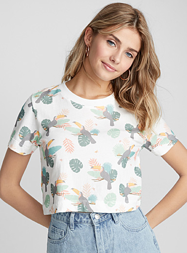 Faded organic cotton cropped tee