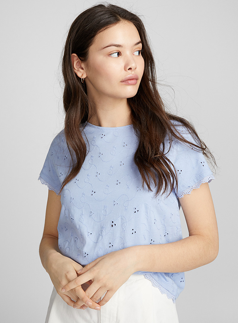 Organic cotton broderie anglaise tee - Organic Cotton - Baby Blue