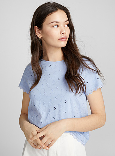 Organic cotton broderie anglaise tee