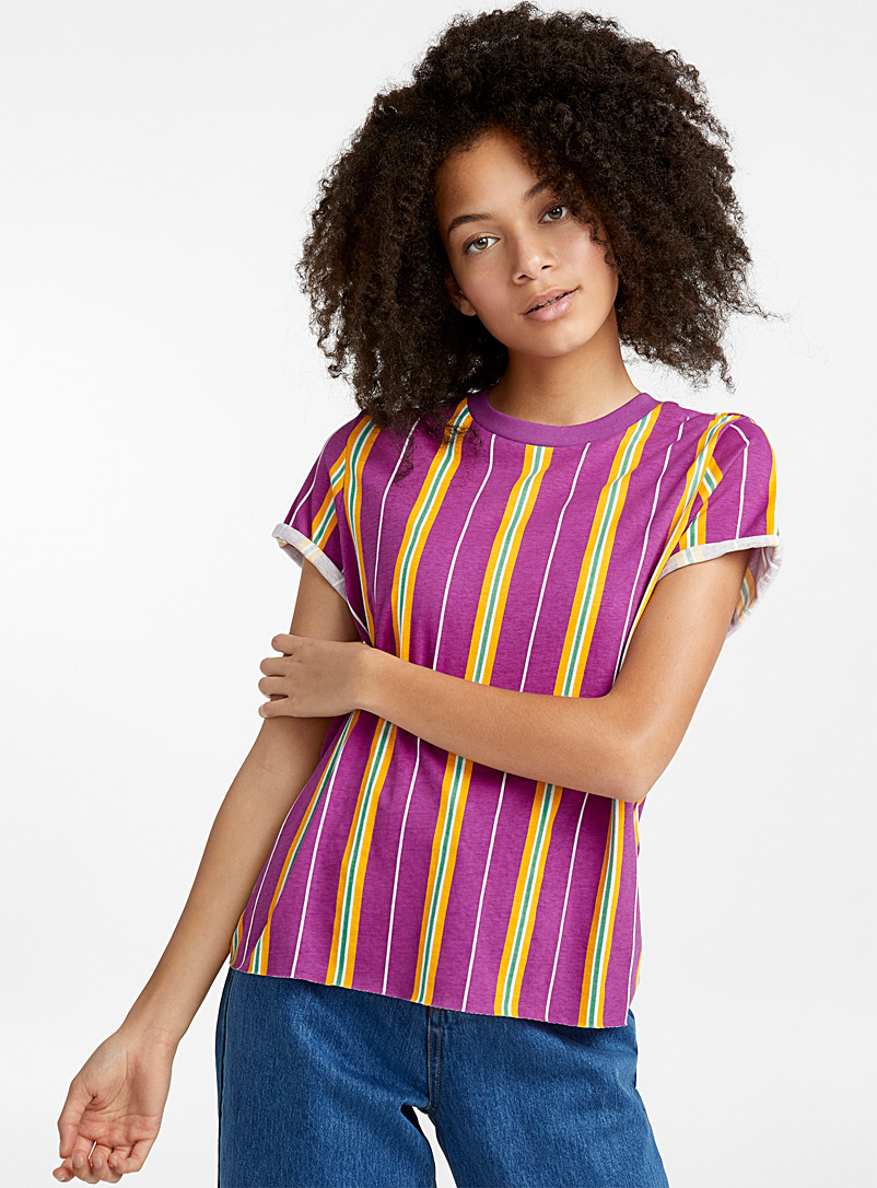 Organic cotton vertical stripes tee - Organic Cotton - Lilacs
