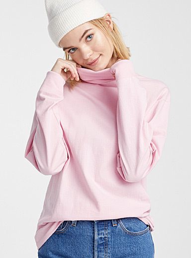 Organic cotton loose turtleneck tee