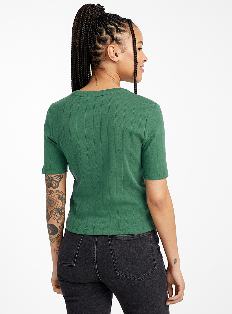 Organic cotton pointelle T-shirt - Organic Cotton - Mossy Green