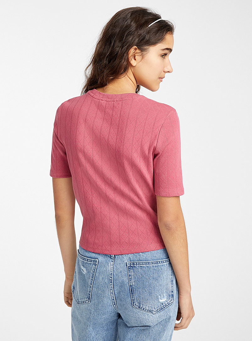 Organic cotton pointelle T-shirt - Organic Cotton - Medium Pink