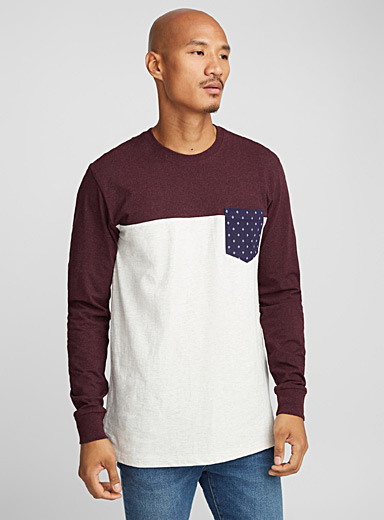 Geo pocket colour-block T-shirt