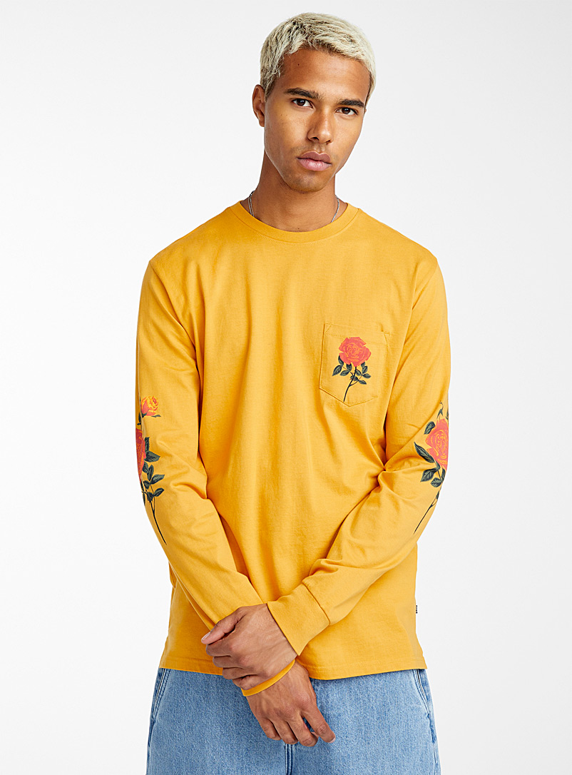 Screen print pocket T-shirt - Long sleeves - Dark Yellow