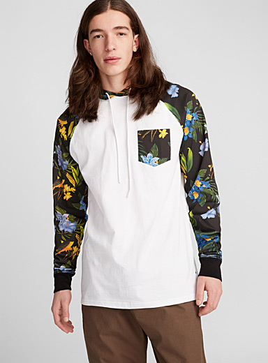 Tropical accent hooded T-shirt
