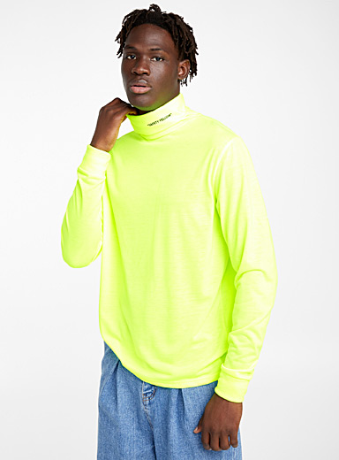 Safety yellow organic cotton turtleneck