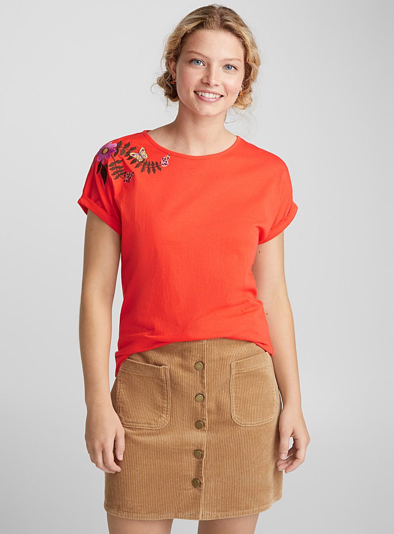 Embroidered organic cotton tee - Organic Cotton - Assorted