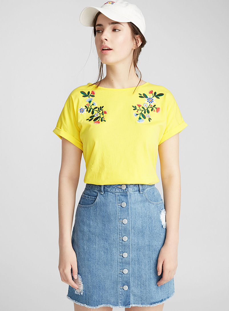 Embroidered organic cotton tee - Short Sleeves - Assorted