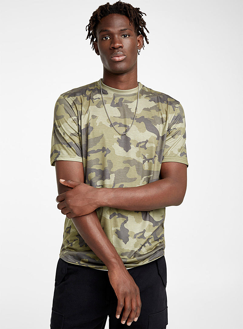 Camo recycled polyester T-shirt - Prints - Mossy Green