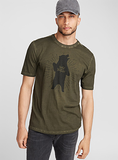Monochrome-print oil-washed T-shirt
