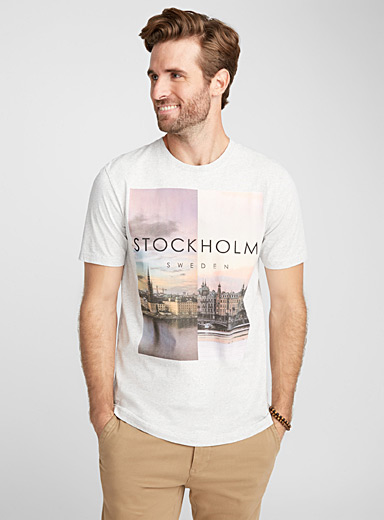 Asymmetric photo organic cotton T-shirt